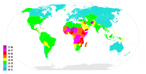 Map of countries by fertility rate